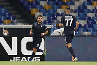 Ciro Immobile of SS Lazio celebrates with team mates after scoring a goal<br /> during the Serie A football match between SSC  Napoli and SS Lazio at stadio San Paolo in Naples ( Italy ), August 01st, 2020. Play resumes behind closed doors following the outbreak of the coronavirus disease. <br /> Photo Cesare Purini / Insidefoto