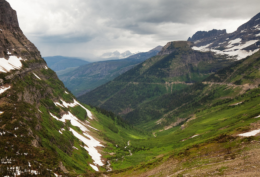 The Going-To-The-Sun road in Glacier National Park, as seen from the Highline Trail.