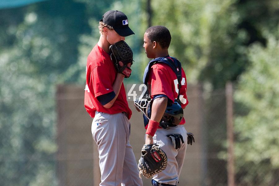 Baseball - MLB European Academy - Tirrenia (Italy) - 21/08/2009 - Andy Paz (France), Scott Ronnenbergh (Netherlands)