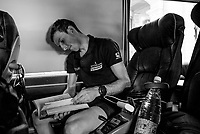 Simon Yates (GBR/Mitchelton-Scott) checking the route on the Mitchelton-Scott teambus ahead of the stage<br /> <br /> Stage 12: Cuneo to Pinerolo (158km)<br /> 102nd Giro d'Italia 2019<br /> <br /> ©kramon