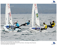 Hyeres, France, 20130425: ISAF SAILING WORLD CUP - approx 900 sailors compete in all the Olympic boat classes at the last event on the 2012/2013 World Cup. 470 W - USA - Annie Haeger / Briana Provancha, 470 W - BRA - Fernanda Oliveira / Ana Barbachan. Photo: Mick Anderson/SAILINGPIX..Note: High-res TIFFs availble upon request.