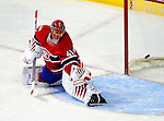 6 February 2010: Montreal Canadiens' goaltender Jaroslav Halak watches a shot drift wide during the first period against the Pittsburgh Penguins at the Bell Centre in Montreal, Quebec, Canada. The Canadiens defeated the Penguins 5-3. Mandatory Credit: Ed Wolfstein Photo