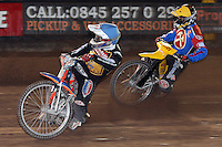 Heat 14: Filip Sitera (blue) and Krzysztof Jablonski (yellow) - Coventry Bees vs Lakeside Hammers - Craven Shield Final 2nd Leg at Brandon, Coventry - 24/10/08 - MANDATORY CREDIT: Rob Newell/TGSPHOTO