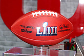 January 29th 2019, Atlanta, Georgia, USA;  A general view of a Super Bowl LIII Game ball  at the Super Bowl LIII Experience on January 29, 2019 at the Georgia World Congress Center in Atlanta, GA.