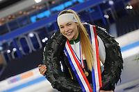 SCHAATSEN: HEERENVEEN: 04-02-2017, KPN NK Junioren, Podium Junioren A Dames, kampioen Jutta Leerdam, ©foto Martin de Jong