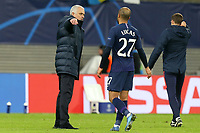 Tottenham Hotspur manager Jose Mourinho consoles Lucas of Tottenham Hotspur after RB Leipzig vs Tottenham Hotspur, UEFA Champions League Football at the Red Bull Arena on 10th March 2020