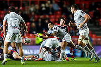 Kahn Fotuali'i of Bath Rugby passes the ball. European Rugby Challenge Cup match, between Bristol Rugby and Bath Rugby on January 13, 2017 at Ashton Gate Stadium in Bristol, England. Photo by: Rogan Thomson / JMP for Onside Images