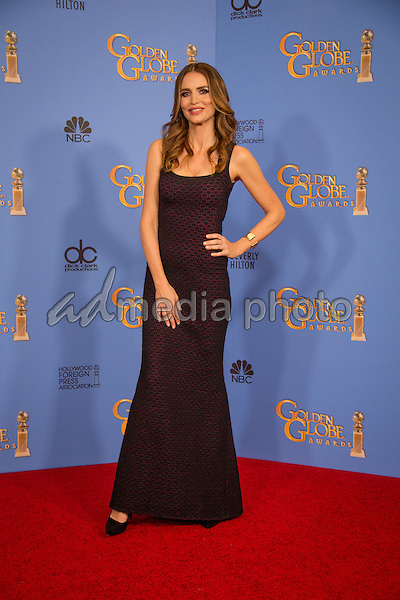 Actress Saffron Burrows poses backstage in the press room at the 73rd Annual Golden Globe Awards at the Beverly Hilton in Beverly Hills, CA on Sunday, January 10, 2016. Photo Credit: HFPA/AdMedia