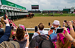 LOUISVILLE, KY - MAY 04: Fans watch the horses break from the gate during an undercard race on Kentucky Oaks Day at Churchill Downs on May 4, 2018 in Louisville, Kentucky. (Photo by Scott Serio/Eclipse Sportswire/Getty Images)