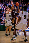 18 December 2018: St. Bonaventure University Bonnies Guard Kyle Lofton, a Freshman from Hillside, NJ, in double-overtime action against the University of Vermont Catamounts at Patrick Gymnasium in Burlington, Vermont. The Catamounts defeated the Bonnies 83-76 in a double-overtime NCAA DI game. Mandatory Credit: Ed Wolfstein Photo *** RAW (NEF) Image File Available ***