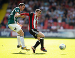 John Fleck of Sheffield Utd tussles with Henrik Dalsgaard of Brentford during the English Championship League match at Bramall Lane Stadium, Sheffield. Picture date: August 5th 2017. Pic credit should read: Simon Bellis/Sportimage