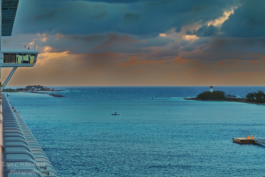 An evening view of the entrance to the Nassau harbour in the Bahamas.