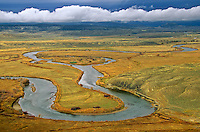 Meandering bends of the Yampa River with approaching storm in background, view from Duffy Mountain in Moffat County, Colorado, AGPix_0613..