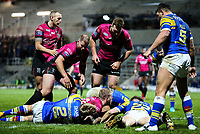 Hull FC 's Jordan Abdull scores his side's second try<br /> <br /> Photographer Alex Dodd/CameraSport<br /> <br /> Betfred Super League Round 5 - Leeds Rhinos v Hull FC - Thursday 8th March 2018 - Headingley Carnegie Stadium - Leeds<br /> <br /> World Copyright &copy; 2018 CameraSport. All rights reserved. 43 Linden Ave. Countesthorpe. Leicester. England. LE8 5PG - Tel: +44 (0) 116 277 4147 - admin@camerasport.com - www.camerasport.com