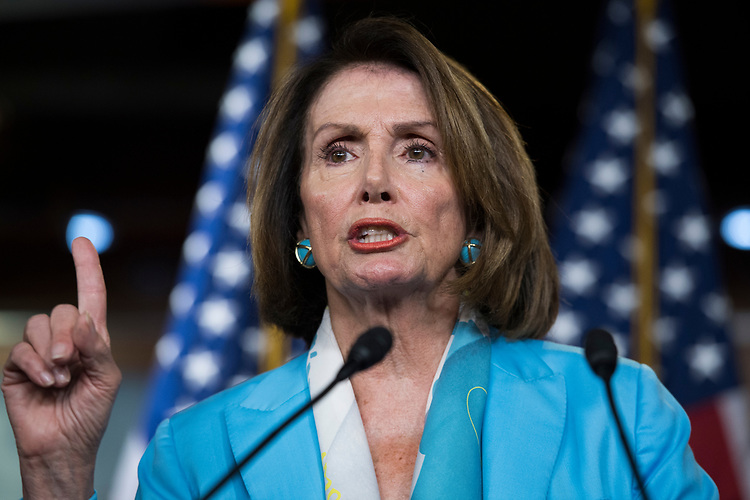 UNITED STATES - JULY 26: House Minority Leader Nancy Pelosi, D-Calif., conducts a news conference before the House leaves for the August recess on July 26, 2018. (Photo By Tom Williams/CQ Roll Call)