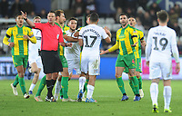 Swansea City's Cameron Carter-Vickers remonstrates with West Bromwich Albion's Hal Robson-Kanu during an altercation<br /> <br /> Photographer Kevin Barnes/CameraSport<br /> <br /> The EFL Sky Bet Championship - Swansea City v West Bromwich Albion - Wednesday 28th November 2018 - Liberty Stadium - Swansea<br /> <br /> World Copyright &copy; 2018 CameraSport. All rights reserved. 43 Linden Ave. Countesthorpe. Leicester. England. LE8 5PG - Tel: +44 (0) 116 277 4147 - admin@camerasport.com - www.camerasport.com