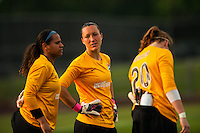 Sky Blue FC goalkeeper Jill Loyden (21) talks with goalkeeper Brittany Cameron (1) and goalkeeper Ashley Baker (20) prior to the match. Sky Blue FC and FC Kansas City played to a 2-2 tie during a National Women's Soccer League (NWSL) match at Yurcak Field in Piscataway, NJ, on June 26, 2013.