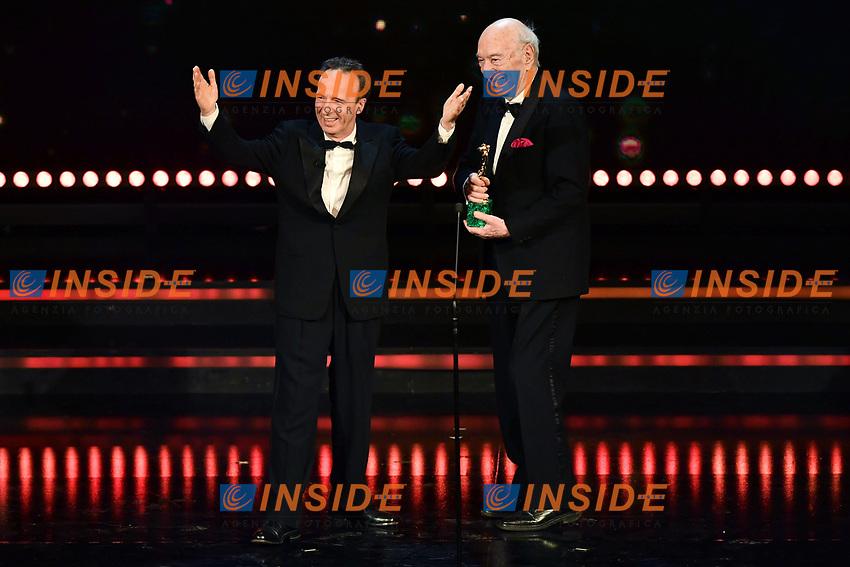 Roberto Benigni Premio alla carriera - career award con Giuliano Montaldo<br /> Roma 27-03-2017. Premio David di Donatello 2017.<br /> Rome March 27th 2017. David di Donatello ceremony 2017. <br /> Foto Antonello Sammarco/Image/Insidefoto