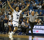 Nevada guard Jazz Johnson (22) celebrates after making a three pointer against California Baptist in the second half of an NCAA college basketball game in Reno, Nev., Monday, Nov. 19, 2018. (AP Photo/Tom R. Smedes)