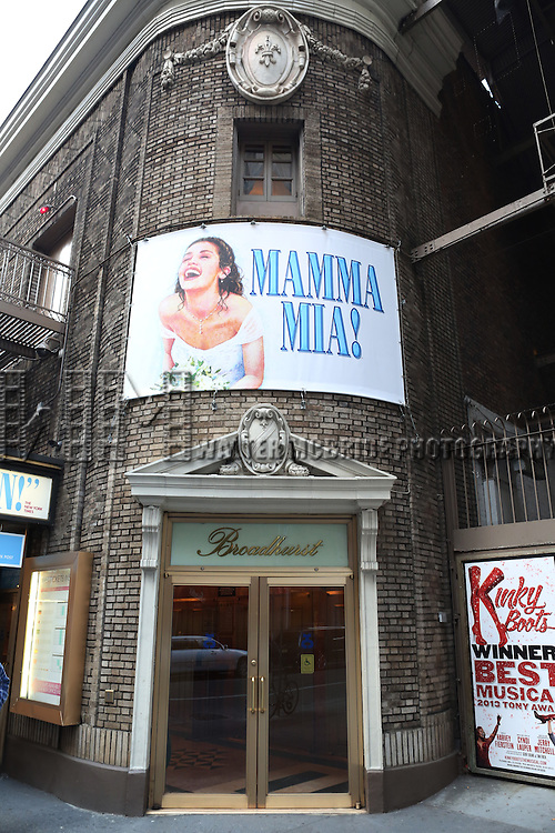 Theatre Marquee for The Broadway Smash Hit Abba Musical 'Mamma Mia!'  finds a New Home at the Broadhurst Theatre on November 2, 2013  in New York City.