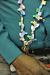 "Closeup of photographer John Gardner wearing necklace he made, at Artist Reception for Seeing with Photography Collective SWPC, a group of visually impaired, sighted and totally blind photographers based in NYC, on Saturday, April 28, 2012, at African American Museum, Hempstead, New York, USA, and hosted by Long Island Center of Photography. Aperture published the group's ""Shooting Blind: Photographs by the Visually Impaired"" in 2005."