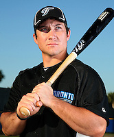 March 1, 2010:  Infielder Brett Wallace (46) of the Toronto Blue Jays poses for a photo during media day at Englebert Complex in Dunedin, FL.  Photo By Mike Janes/Four Seam Images