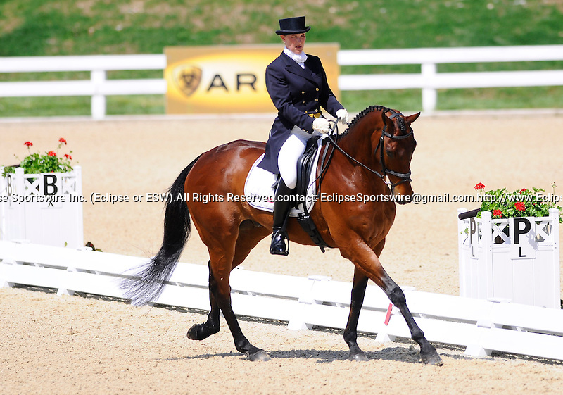 Kristin Bachma(USA), competing on GRYFFINDOR, during the Dressage Test at the Rolex 3-Day 4-Star Event at the Kentucky Horse Park in Lexington, Kentucky on April 28, 2011.
