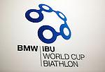 Logo of the biathlon World Cup on December 11, 2014 in Hochfilzen, Austria.