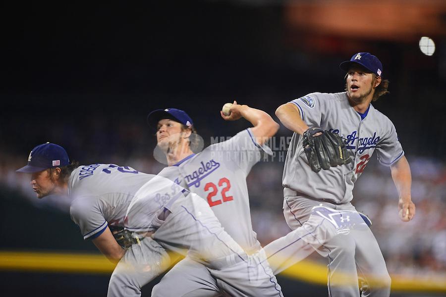 Sept. 11, 2012; Phoenix, AZ, USA: (Editors note: Multiple exposure image) Los Angeles Dodgers pitcher Clayton Kershaw throws in the third inning against the Arizona Diamondbacks at Chase Field. Mandatory Credit: Mark J. Rebilas-