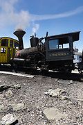 Mount Washington Cog on the summit of Mount Washington. Located in the White Mountains, New Hampshire USA. This is the Waumbek Locomotive