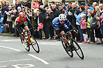The breakaway featuring Harry Tanfield (BIK) and Sebastian Mora Vedri (RAL) during Stage 2 of the Tour de Yorkshire 2017 running 122.5km from Tadcaster to Harrogate, England. 29th April 2017. <br /> Picture: ASO/A.Broadway | Cyclefile<br /> <br /> <br /> All photos usage must carry mandatory copyright credit (&copy; Cyclefile | ASO/A.Broadway)