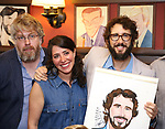 Dave Molloy, Rachel Chavkin and Josh Groban during the Josh Groban Sardi's Portrait Unveiling  at Sardi's on June 2, 2017 in New York City.