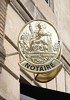 General view of a Notary sign on the Rue Esprit des Lois, Bordeaux, Nouvelle-Aquitaine, France on 16.10.19.