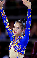 October 21, 2001; Madrid, Spain:  IRINA TCHACHINA of Russia celebrates during event final awards ceremony at 2001 World Championships at Madrid.