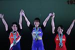(L-R) <br /> Ayana Sadoyama, <br /> Kanae Yagi, <br /> Mizuki Yanagida, <br /> MAY 21, 2016 - Weightlifting : <br /> All Japan Weightlifting Championship 2016 Women's -53kg <br /> Award Ceremony <br /> at Yamanashi Municipal Gymnasium, Yamanashi, Japan. <br /> (Photo by AFLO SPORT)