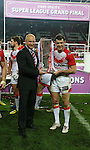 St Helens coach Nathan Brown and St Helens Paul Wellens - First Utility Super League Grand Final - St Helens v Wigan Warriors - Old Trafford Stadium - Manchester - England - 11th October 2014 - Pic Paul Currie/Sportimage
