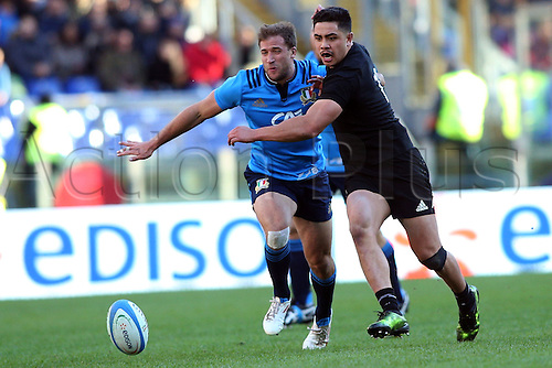12.11.2016. Stadio Olimpico, Rome, Italy. Test match rugby 2016 Italy versus New Zealand. Giulio Bisegni and Anton Lienerth-Brown in action during the match.