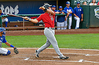 Aaron Schnurbusch (21) of the Great Falls Voyagers at bat against the Ogden Raptors in Pioneer League action at Lindquist Field on August 17, 2016 in Ogden, Utah. Ogden defeated Great Falls 5-2. (Stephen Smith/Four Seam Images)