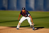 Carlos Lopez #17 of the Cal State Fullerton Titans during a game against the Nebraska Cornhuskers at Goodwin Field on February 16, 2013 in Fullerton, California. Cal State Fullerton defeated Nebraska 10-5. (Larry Goren/Four Seam Images)