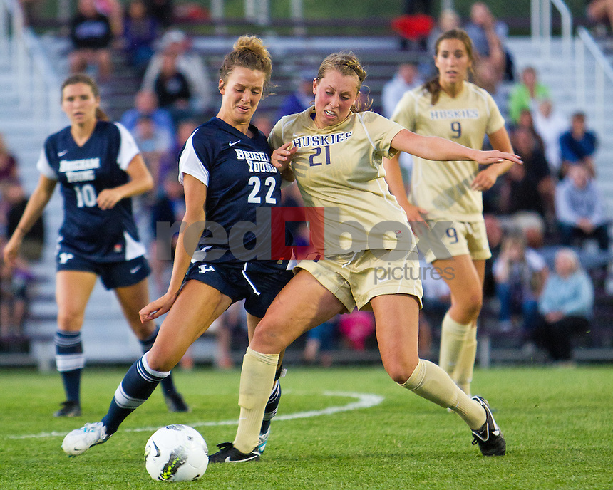 University of Washington Huskies finish with a 2-2 draw against the Brigham Young University Cougars at UW in Seattle Friday, Aug. 19, 2011. (Photo by Andy Rogers/Red Box Pictures)