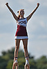 Garden City varsity cheerleader Brynn Madigan entertains the crowd during halftime of a Nassau County Conference II football game against Carey at Garden City High School on Saturday, Sept. 29, 2018.