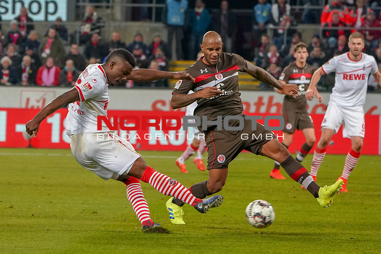 08.02.2019, RheinEnergieStadion, Koeln, GER, 2. FBL, 1.FC Koeln vs. FC St. Pauli,<br />  <br /> DFL regulations prohibit any use of photographs as image sequences and/or quasi-video<br /> <br /> im Bild / picture shows: <br /> Jhon C&oacute;rdoba (FC Koeln #15),   im Zweikampf gegen  Christopher Avevor (St Pauli #6), <br /> <br /> Foto &copy; nordphoto / Meuter