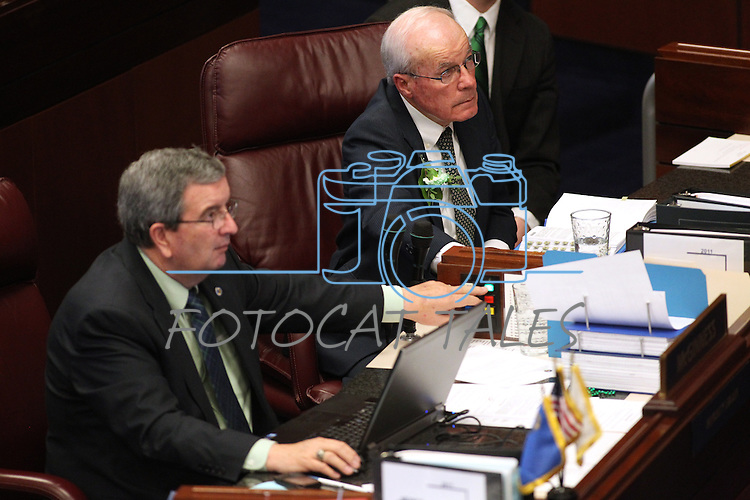 Nevada Senate Republicans Mike McGinnees, left, and Dean Rhoads vote on the Senate floor at the Legislature in Carson City, Nev., on Thursday, March 17, 2011..Photo by Cathleen Allison