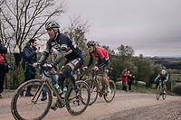 Peter Sagan (SVK/Bora-Hansgrohe) followed closely by (eventual winner) Tiesj Benoot (BEL/Lotto-Soudal)<br /> <br /> 12th Strade Bianche 2018<br /> Siena &gt; Siena: 184km (ITALY)