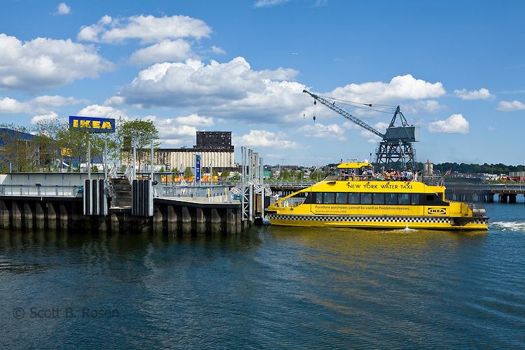 The free New York Water Taxi pulls into the new Ikea in Red Hook, Brooklyn, New York