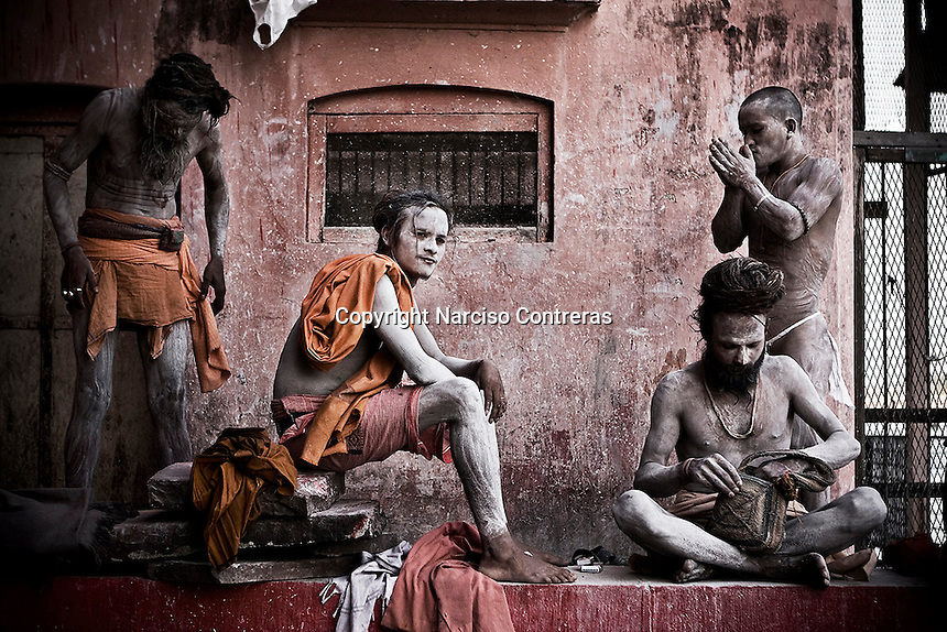 KUMBH MELA. THE NAGA BABAS PROCESSION. SADHUS MAKE UP THEIR BODIES WITH ASHES AFTER TOOK A BATH INTO THE SACRED MOTHER GANGA. HARIDWAR, INDIA.