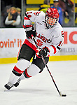 2 January 2009: St. Lawrence Saints' defenseman Jeff Caister, a Junior from Mississauga, Ontario, in action against the Ferris State Bulldogs in the first game of the 2009 Catamount Cup Ice Hockey Tournament hosted by the University of Vermont at Gutterson Fieldhouse in Burlington, Vermont. The Saints defeated the Bulldogs 5-4 to move onto the championship game against the University of Vermont Catamounts...Mandatory Photo Credit: Ed Wolfstein Photo