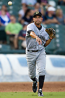 Omaha Storm Chasers third baseman Anthony Seratelli #2 throws to first during the Pacific Coast League baseball game against the Round Rock Express on July 22, 2012 at the Dell Diamond in Round Rock, Texas. The Express defeated the Chasers 8-7 in 11 innings. (Andrew Woolley/Four Seam Images).