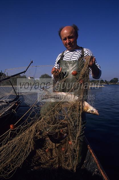 Europe/France/Centre/45/Loiret/Env de Beuagency : Pêche sur la Loire avec Emile Siegler pêcheur professionel [Non destiné à un usage publicitaire - Not intended for an advertising use]