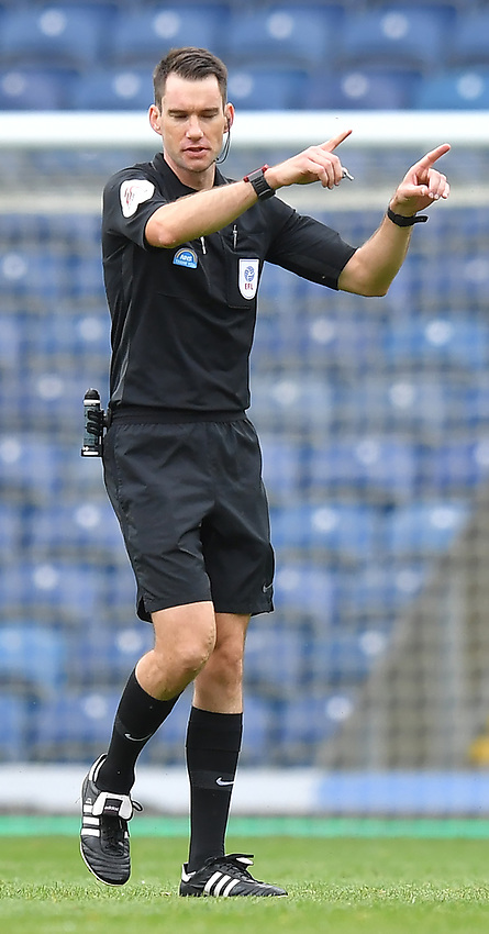 Referee Jarred Gillett signals water break<br /> <br /> Photographer Dave Howarth/CameraSport<br /> <br /> The EFL Sky Bet Championship - Blackburn Rovers v West Bromwich Albion - Saturday 11th July 2020 - Ewood Park - Blackburn <br /> <br /> World Copyright © 2020 CameraSport. All rights reserved. 43 Linden Ave. Countesthorpe. Leicester. England. LE8 5PG - Tel: +44 (0) 116 277 4147 - admin@camerasport.com - www.camerasport.com